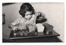 PHOTO Classe de Maternelle 1950 École Écolier Atelier de Jeu Cube en Bois Fille