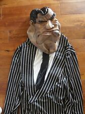 Massive Mobster Mafia Gangster Costume and Mask Pinstripe Mens Large Halloween