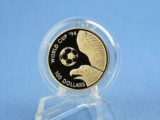 Tuvalu 100 Dollars 1994 Fußball WM USA * 7,78 Gramm - 583 Gold* PP/Proof