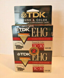 TDK 2 Pack E-HG TC-30 VHS-C Extra High Grade Camcorder Blank Tapes