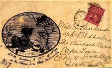 924b 1887 GB HAND-ILLUSTRATED CATS *Leiston* Suffolk Front Destination AFRICA