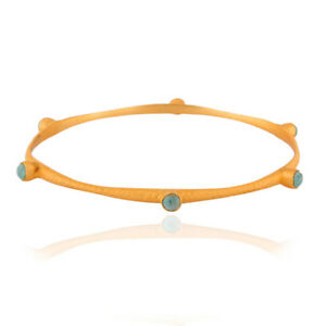 925 Silver Turquoise Gemstone 24k Yellow Gold Matte Finish Sleek Bangle