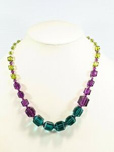 Artisan Purple Green Square Cube Acrylic Knotted necklace 20 Inches