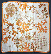 Turkish TEKBIR Designer Orange White Beige FLORAL Hand Rolled Satin Silk Scarf