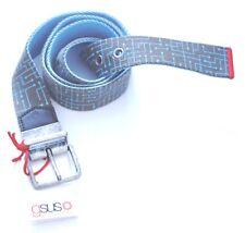 GSUS SINDUSTRIES Toad Green Blue 100% Cotton Waist Belt Silver Buckle