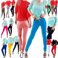 New Ladies Womens Jeans Jeggings Skinny Fit Coloured Stretchy Zip Trousers 8-26