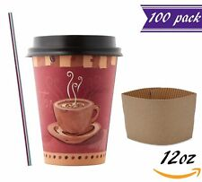 (100 Sets) 12 oz Paper Coffee Cups with Dome Lids and Sleeves, Stirrers Free