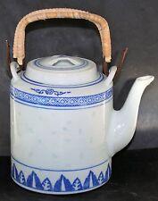Chinese Oriental Porcelain Teapot 1L, Rice-pattern; bamboo handles