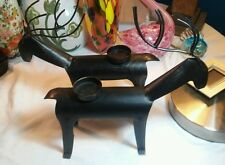 2 Hand Crafted Metal Reindeer Votive Candle Holders