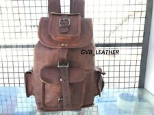 Men's Unisex Day pack First Layer Leather Backpack Laptop Rucksack Travel Bag