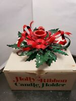 Vintage Christmas Department 56 Metal Holly Ribbon Candle Holder w/Original Box