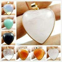 Beautiful Natural Peach Heart Mixed Agate Pendant Gemstone Necklace