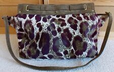 Jerome dreyfuss Carlos Purple Leopard Pony Hair Tote Leather Handbag SOLD OUT