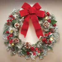 "Large 18"" Diameter Lighted Frosted Pine, Berries & Red Bow Christmas Door Wreath"