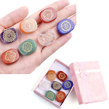 7x Set Engraved Chakra Stones Crystal Reiki Healing Energy Palm Natural Gemstone