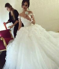 White/Ivory Wedding Dresses Long Sleeves Ball Gown Bridal Gown With Flowers