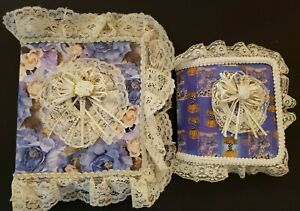 2 Purple Decorative Lace & Ribbon Photo Albums Wedding, Baby, Family Pictures