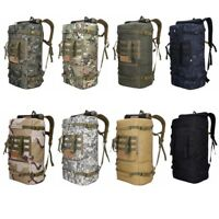 50L Hiking Backpack Camping Bag Army Military Tactical Rucksack Camo Trekking