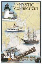 Mystic Connecticut Nautical Chart, Lighthouse Bridge Boat Ship - Modern Postcard