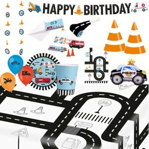 Road Vehicle Party Supplies Tableware, Decorations, Banners, Balloons, Invites