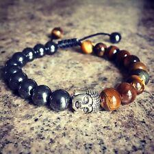 AAA HEMATITE & TIGERS EYE Buddha Mala bracelet Mens Ladies healing PROTECTION