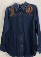 Woman Teluride Clothing Co. Western Shirt Top  9J1028 M Medium Christmas Denim