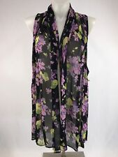 Lucy Love Floral Wrap Cover Up Shawl Head Scarf Size Large Sheer Black