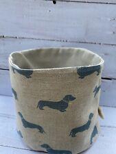 Emily Bond Blue Dachshund Fabric Storage Basket - New