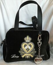 NWT Juicy Couture Velour Heart Crown Satchel Bag Black