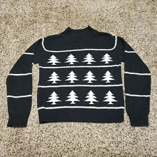 Women's Talbots Christmas Tree Sweater Black & White Size Small - 100% Cotton