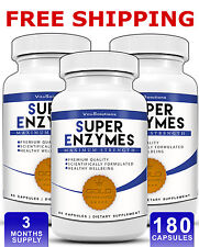 Super Enzymes - Healthy Digestion - IBS - 180 Capsules - 3 Months Supply