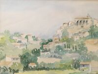 French Impressionist Watercolor Geneslay France Signed Mid Cent Mod Framed