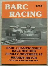 BRANDS HATCH 15 Nov 1981 BARC CHAMPIONSHIP RACE MEETING A4 Official Programme