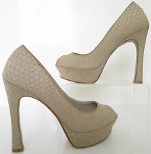 NEXT SIZE 5 38 WOMENS BEIGE SNAKESKIN PEEPTOE COURT SHOES HIGH HEELS PLATFORMS
