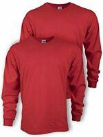 Gildan Men's Ultra Cotton Adult Long Sleeve T-Shirt, 2-Pack,, Red, Size XX-Large