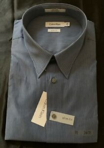 *NEW WITH TAGS* CALVIN KLEIN BLUE DRESS SHIRT18 34/35 SLIM FIT