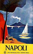 Napoli Italy Vintage Illustrated Travel Poster Print painting Framed Canvas