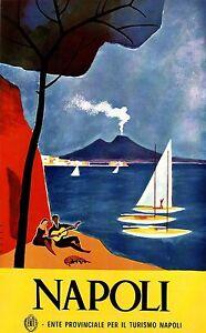 Napoli Italy Vintage italian Travel Poster Print painting Framed Canvas italia