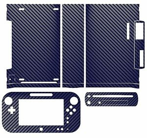 Blue Carbon Fiber Skin Sticker Cover for Nintendo Wii U Console & Controller