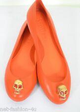 Cráneo de Alexander McQueen ciudad Naranja De Cuero Zapatos De Ballet Zapatos sin Taco Sin UK 4 EU 37 nos 7