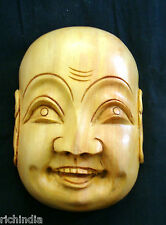 WOOD MASK HAPPY MAN SMILE wooden Handicraft,Handmade,Home decore,gift,India art
