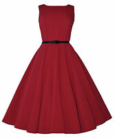 CLASSIC 50's VINTAGE AUDREY RED ULTRA FLARED SWING JIVE ROCKABILLY DRESS  8-20