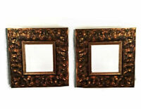 Pair of vintage mirrors. Spanish Revival. Fleur de lis motif. Heavy wood w/ beve