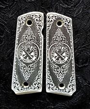 Springfield Armory 1911 full custom ivory scrimshaw grips scroll Logo Checkered
