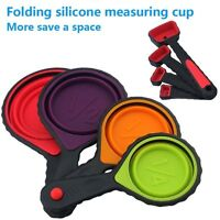 New Portable Set Of 8 4 Collapsible Silicone Measuring Cups & 4 Measuring Spoons