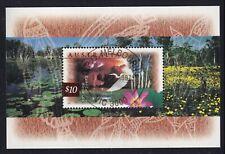 Australia Scott 1535a Mnh 1996 $10 Kakadu Wetlands Flaura Fauna Egret Lily S/S