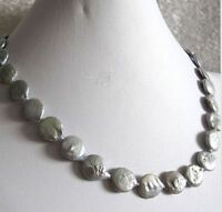 """18"""" 11-12mm Gray Coin Freshwater Pearl Necklace"""