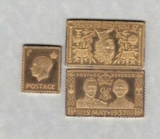 THREE GOLD ON SILVER STAMP INGOTS IN NEAR MINT CONDITION