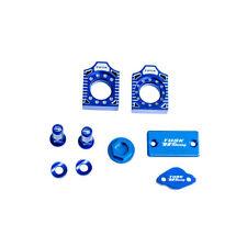 TUSK BILLET BLING KIT BLUE Brake Oil Cap Axle Blocks YAMAHA YZ125 YZ250 2003-07