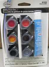 Testors Model Hobby Paint Set 2 Reds, Amber, 2 Blacks, Silver, Brush Cement 9100